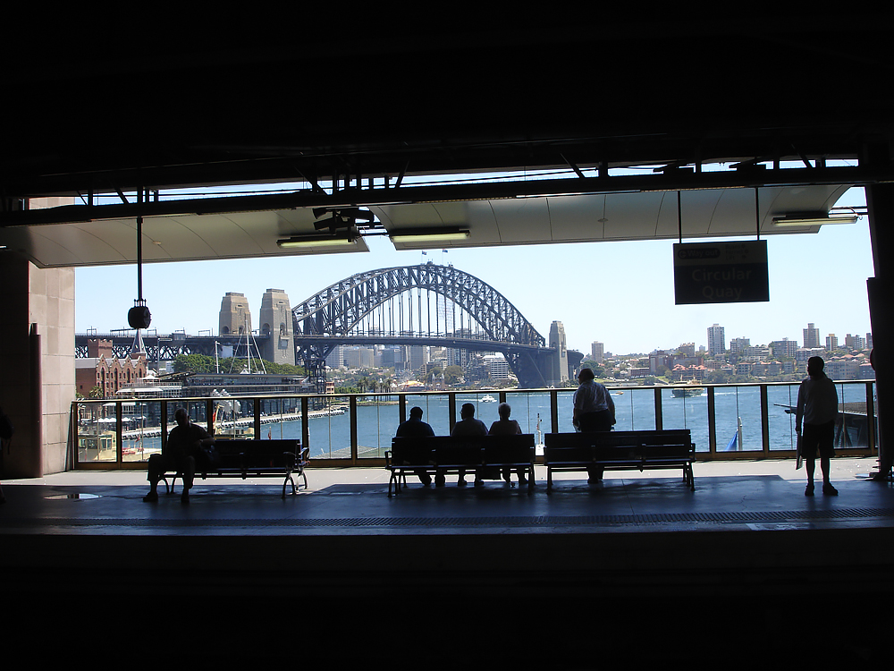 View of Sydney Harbour Bridge from Circular Quay train station